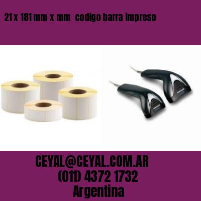 21 x 181 mm x mm  codigo barra impreso