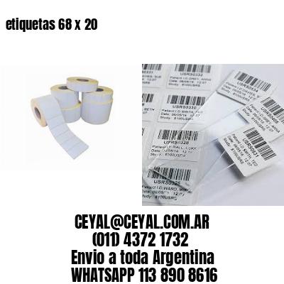 etiquetas 68 x 20